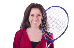 Woman in red costume in sports Stock Photos