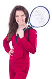 Woman in red costume in sports Royalty Free Stock Images
