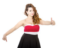 Woman in red doubts Stock Image