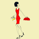 Woman in a red dress Royalty Free Stock Image