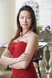 Woman in red dress. royalty free stock image