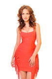 Woman in red dress Stock Images