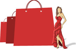 Woman in red dress Stock Photos