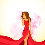 Woman red dress with abstract paint splash flat Stock Photography