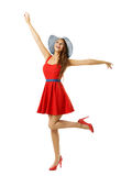 Woman in Red Dress Beach Hat Happy Going with Open Arms, White. Woman in Red Dress Beach Hat Happy Going with Open Arms, Isolated over White, Inspired Model Royalty Free Stock Images