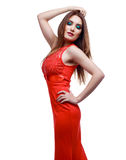 Woman with red dress Stock Photos