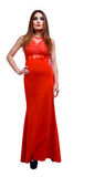 Woman with red dress Stock Image