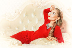 Woman in red dress Royalty Free Stock Photos
