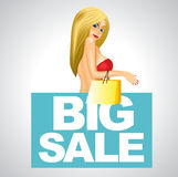 Woman in red dress with big sale banner Stock Photography