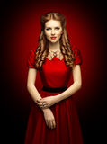 Woman Red Dress, Fashion Model in Retro Clothes Lace Collar Stock Images