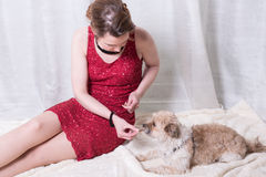 Woman in red dress feeding dog on blanket.  Royalty Free Stock Photo