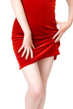 Woman in red dress front view Stock Images