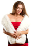 Woman In Red Dress With Furs Royalty Free Stock Photography