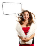 Woman In Red Dress With Furs With Speech Bubble Royalty Free Stock Image