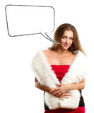 Woman In Red Dress With Furs With Speech Bubble Royalty Free Stock Photos