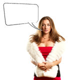 Woman In Red Dress With Furs With Speech Bubble Stock Image