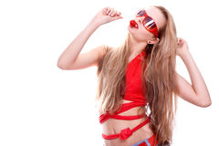 Woman in a red dress with the glasses Stock Image