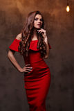 Woman in red dress. With gorgeous, curly hairdo Stock Photography
