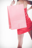 Woman in red dress hold shopping bag Royalty Free Stock Photos