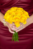 Fresh yellow rose bouquet Royalty Free Stock Images