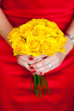 Yellow bouquet of roses Royalty Free Stock Photos