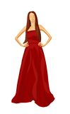 Woman in red dress illustration. Vector illustration of a woman in red dress Stock Photo