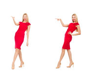 The woman in red dress isolated on white Royalty Free Stock Photos