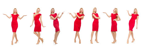 The woman in red dress isolated on white Stock Images