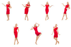 The woman in red dress isolated on white Stock Photo
