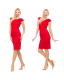 Woman in red dress isolated on white Royalty Free Stock Photo