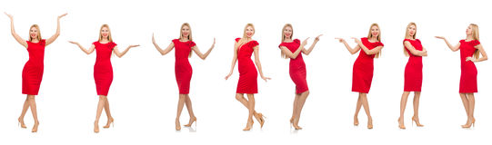 Woman in red dress isolated on white Stock Photo