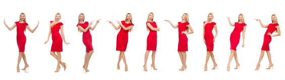 The woman in red dress isolated on white Stock Photography