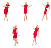 The woman in red dress isolated on white Royalty Free Stock Photo