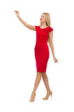 The woman in red dress isolated on white Royalty Free Stock Images