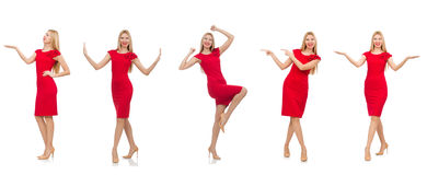 The woman in red dress isolated on white Royalty Free Stock Image