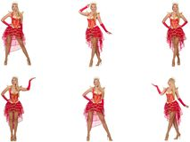 The woman in red dress isolated on white Stock Photos