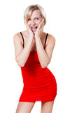 Woman in red dress is looking forward Royalty Free Stock Image