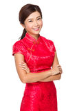 Woman with red dress for lunar new year Royalty Free Stock Photo