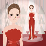 Woman in red dress Mascot cartoon great for any use. Vector EPS10. Royalty Free Stock Photo