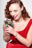 Woman in Red Dress with Mistletoe Royalty Free Stock Photos
