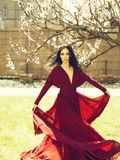 Woman in red dress near blossom royalty free stock images