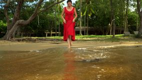 The woman in a red dress on the ocean coast.  stock video