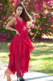 Woman in a red dress outside. Brunette haired woman in a red dress outside Royalty Free Stock Images