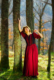 Woman in red dress portrait, autumnal forest Stock Photos