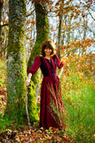 Woman in red dress portrait, autumnal forest Stock Image
