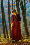 Woman in red dress portrait, autumnal forest Royalty Free Stock Photography