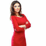 Woman red dress portrait isolated on white background. Smiling Stock Images