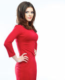 Woman red dress portrait isolated on white backgro. Und. Smiling beautiful girl. Female model Royalty Free Stock Image