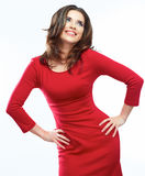 Woman red dress portrait isolated on white background. Smiling Stock Image