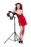 Woman in red dress posing in  studio Royalty Free Stock Photo